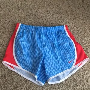Nike athletic shorts red white & blue track&field